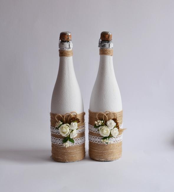 Декор свадебного шампанского в стиле Рустик