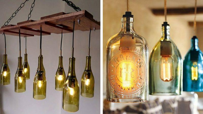 Люстра из стеклянных бутылок