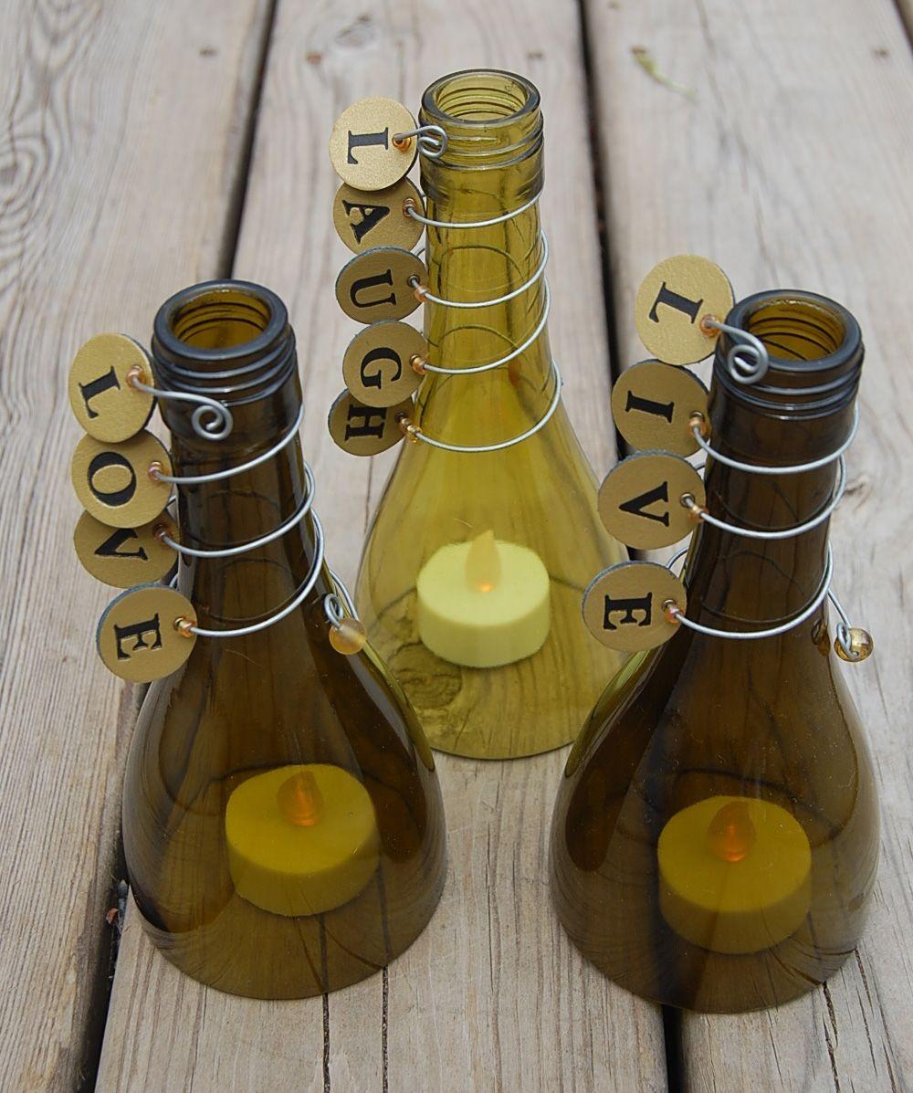 Оригинальные подсвечники ручной работы из стеклянных бутылок