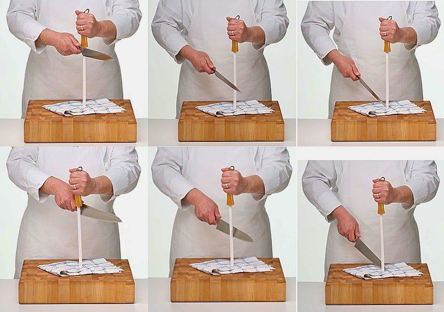 Пример заточки кухонных ножей мусатом