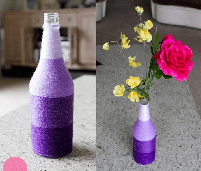 Ваза из бутылок и ниток