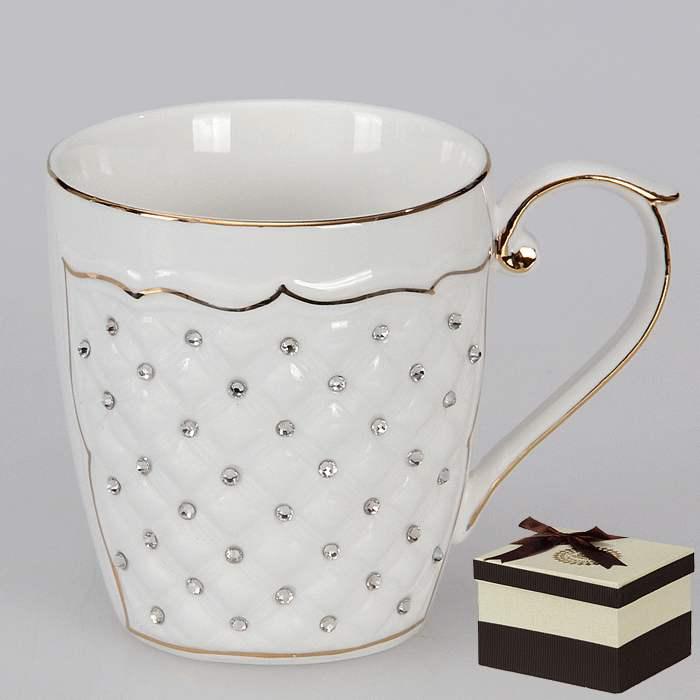 Чайная кружка фарфоровая со стразами