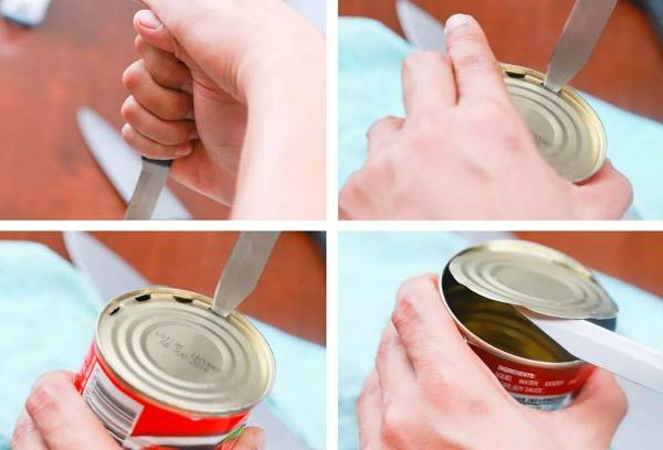 С помощью ножа открываем банку с консервами