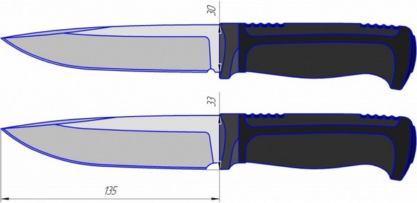 Чертеж ножа туристического