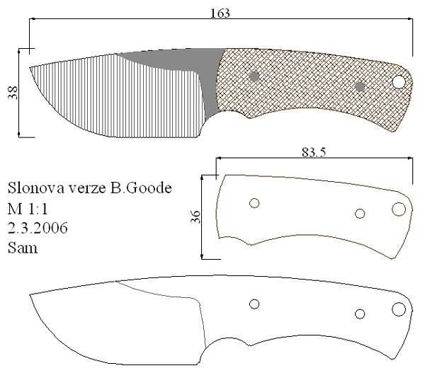 Чертеж ножа для шкур