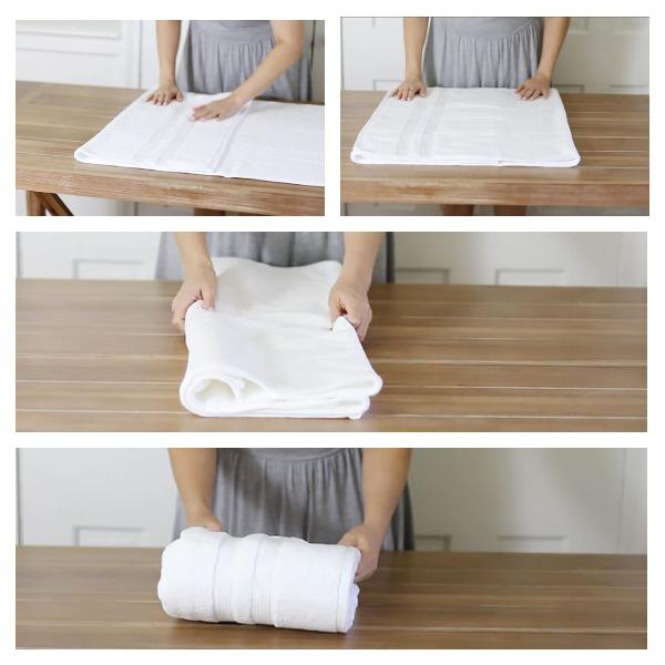 1.Сложите 1/4 ширины полотенца в сторону центра.2.Сложите противоположный конец к краю.3.Переверните полотенце и сложите полотенце пополам.4.Сложите полотенце в трое.